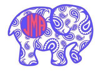 Monogram DecalPaisley Elephant Decal By Scrappychicksonvinyl - Elephant monogram car decal