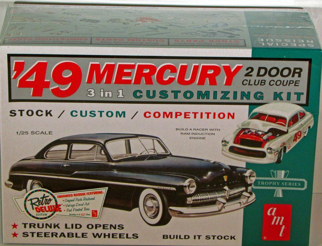 1949 Mercury 2 Door Club Coupe Amt 654 1 25 Scale New Model Kit