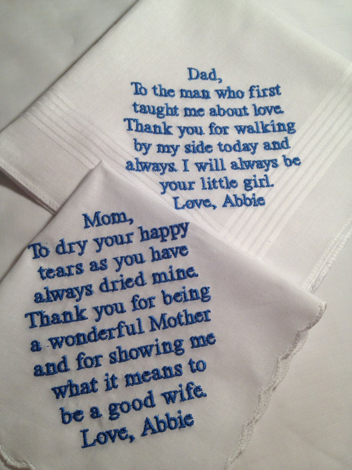 Set Of Two Personalized WEDDING HANKIES Mother Father The Bride Gifts Hankerchief