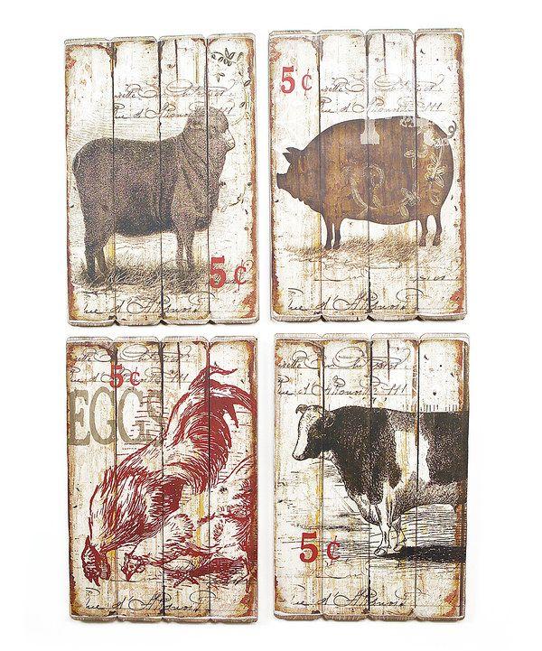 Melrose Farm Animal Wall Plaque Set By Zulilyfinds