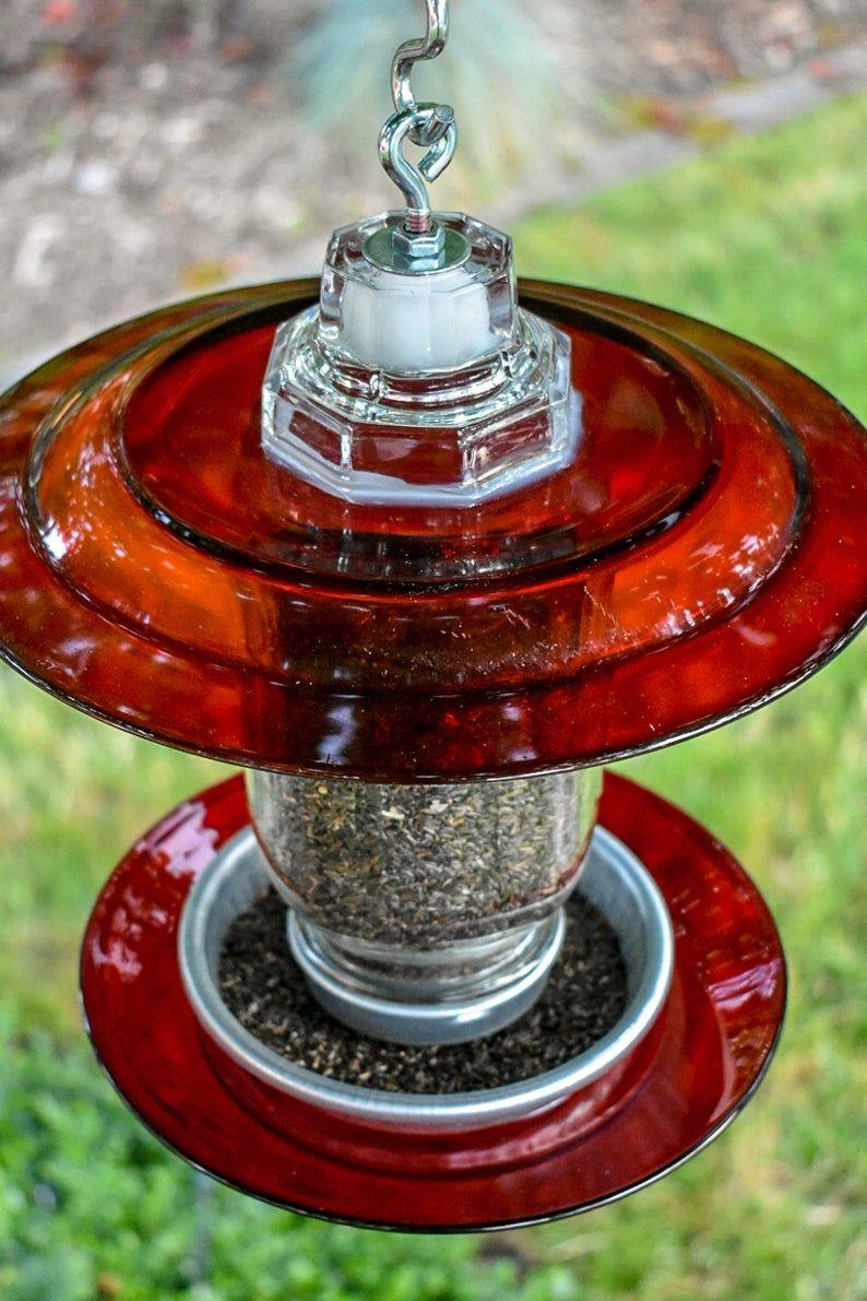 Bird feeder or bird bath handmade mason jar great gift