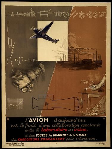 The airplane today is the result of a collaboration between scientists and industry (the laboratory and the factory). / Offset Lithograph by Georges Villa, 1932