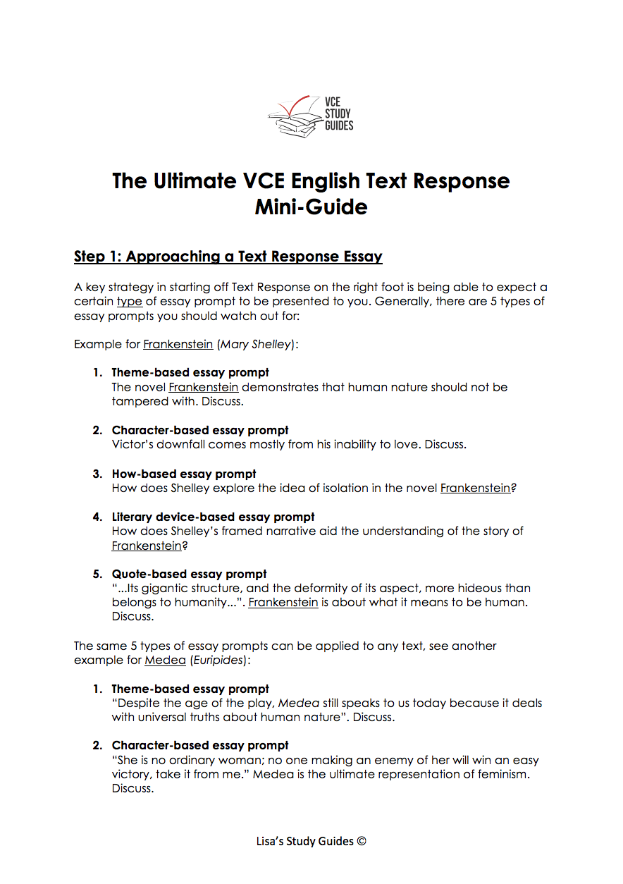 Introduction To Text Response Reading And Creating Lisa S Study Guide Essay Prompt Type Of How Write
