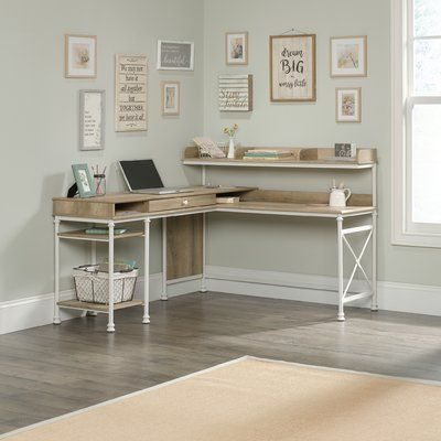 Three Posts Oakside L-Shape Executive Desk with Hutch