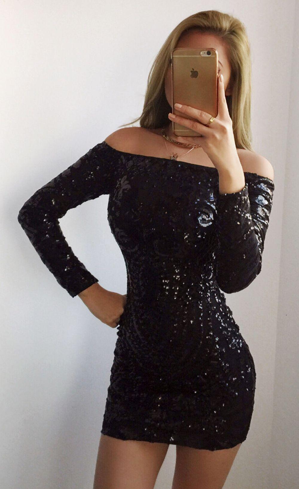 glittering long sleeve off shoulder club dress gold