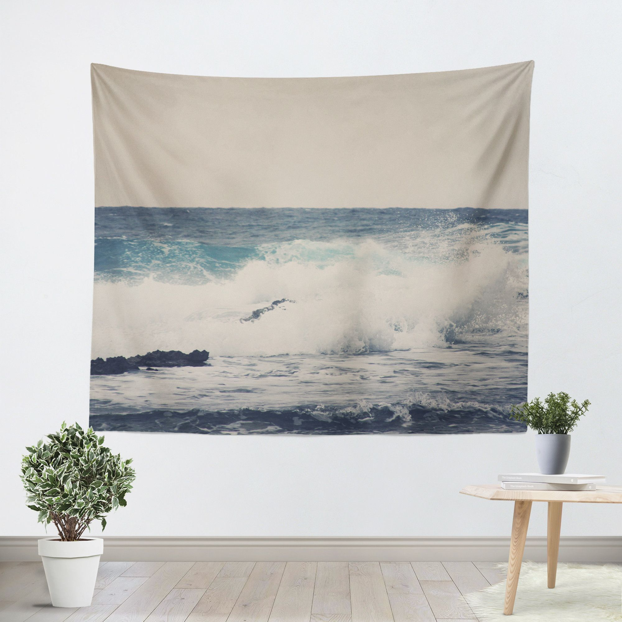 Ocean Blue 1 Tapestry Our Wall Tapestries are made of 100% lightweight polyester with hand-sewn finished edges. Machine washable with cold water on gentle cycle using mild detergent tumble dry with lo
