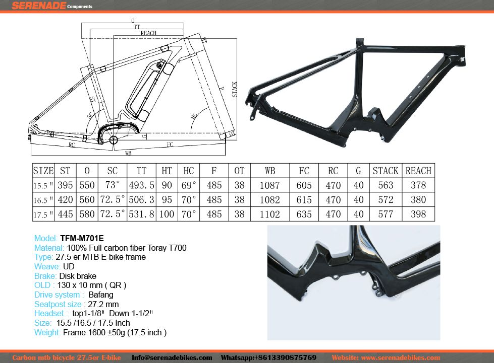 Serenadebikes 27 5er E Bike Carbon Mountain Bike Frame