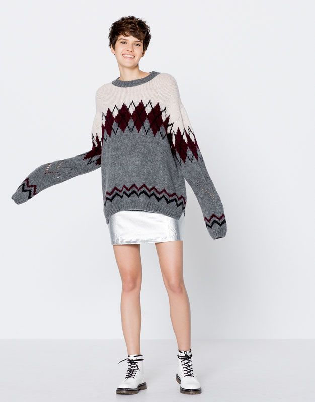Pull Bear - mujer - novedades - ropa - jersey rombos bicolor - grismedio -  09558342-I2016 a8766c1622de