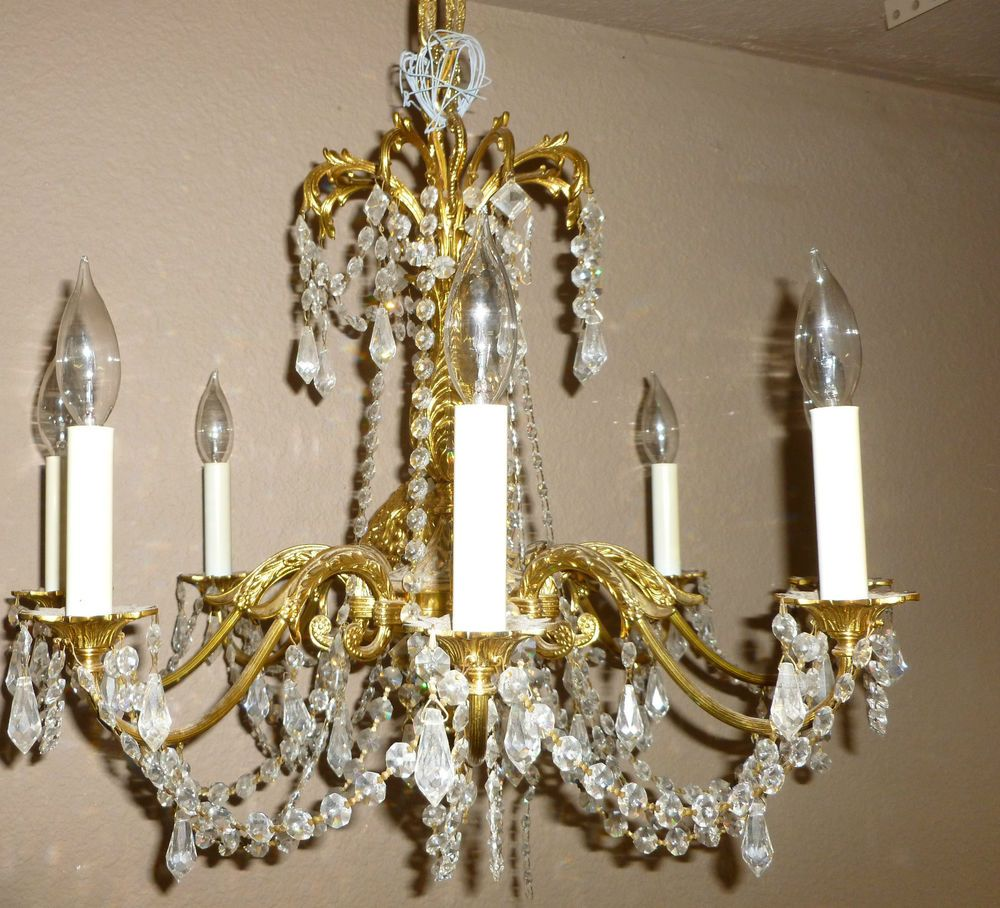 Details About Vintage 20 Light Brass And Crystal Chandelier