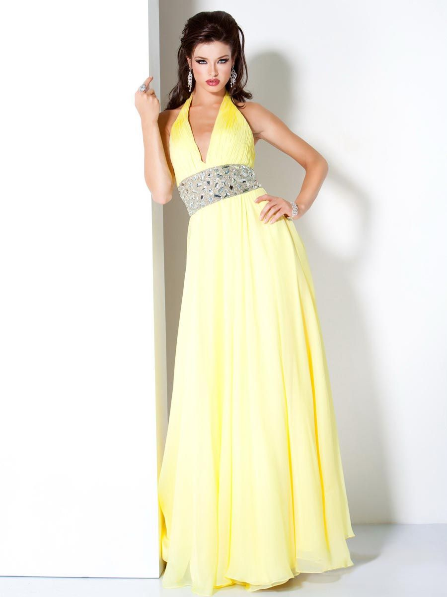 Yellow deep halter low back full length evening dress with beading