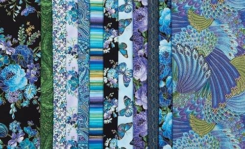 Enchanted Color Story Collection Purples, blues and greens have a Far Eastern flair in this 12-piece fat-quarter collection featuring the Enchanted line by Chong-a Hwang for Timeless Treasures.