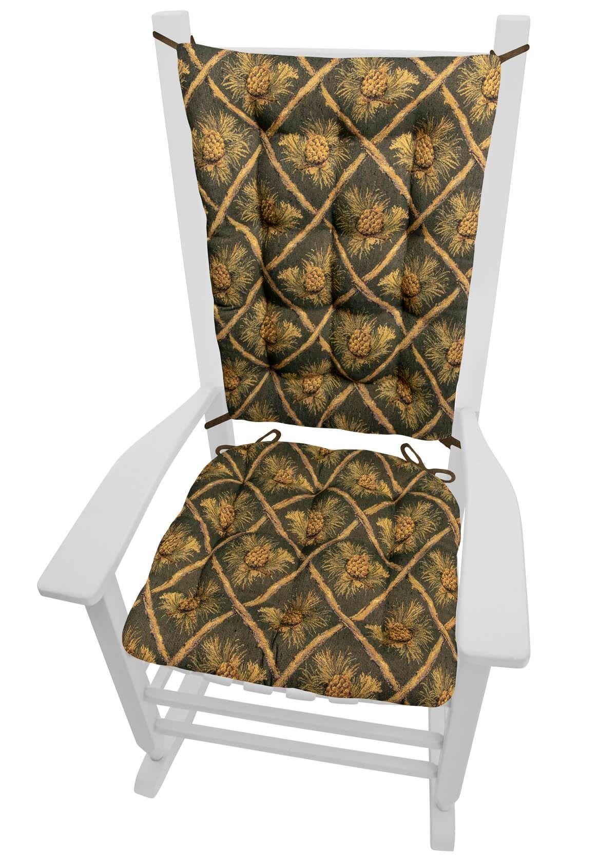 wilderness pine cones green rocking chair cushions latex foam fill rh pinterest com