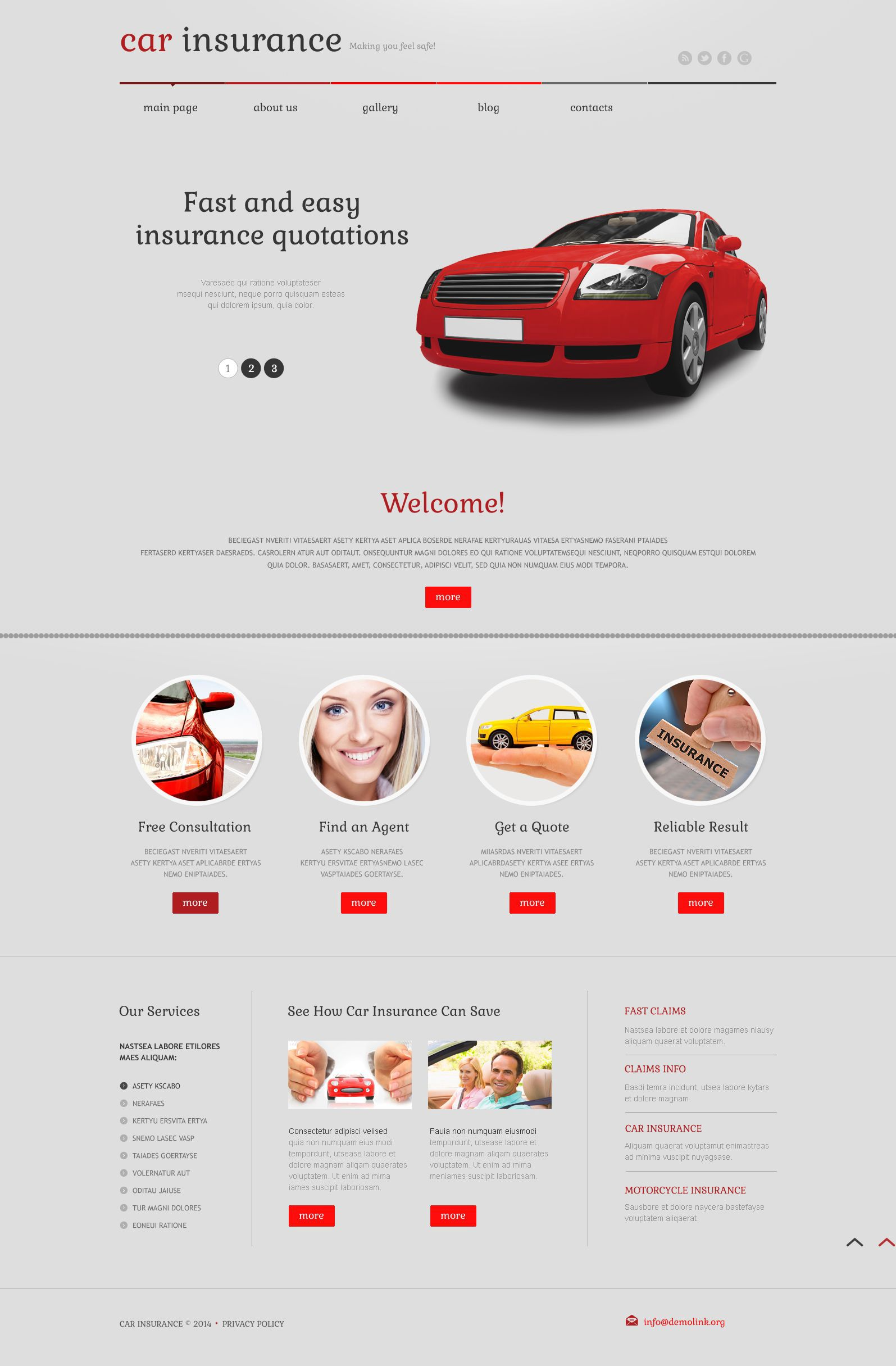 Car insurance responsive wordpress theme 52562