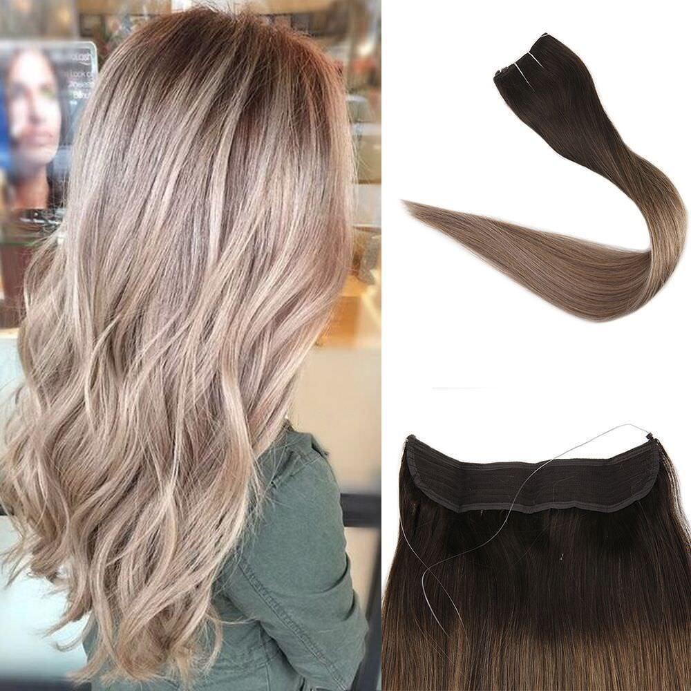 Flip Human Hair Fish Line Halo Real Hair Extensions Ombre Balayage