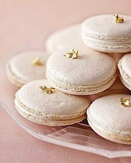Vanilla Macarons with Edible Gold Leaf