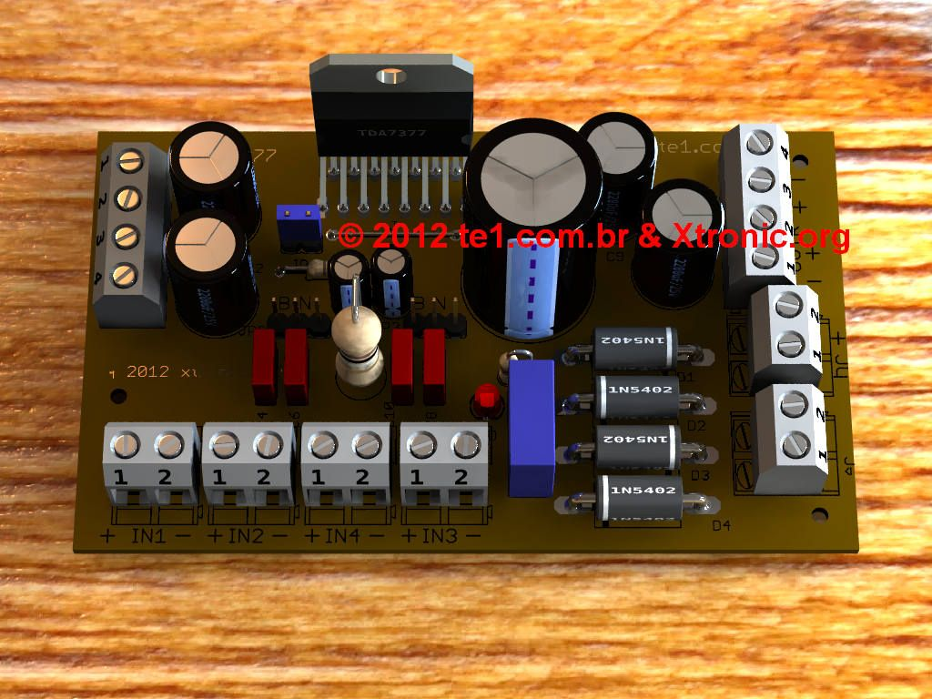 Circuito De Amplificador Udio Potncia Dinmico Com Tda7377 25 Watt Power Amplifier Using Tda2009