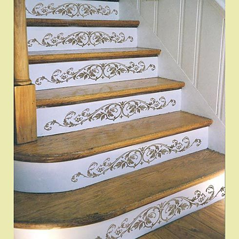 wonderful wood stair risers | Westbury Stair Riser Stencil | Stenciled stairs, Diy home ...