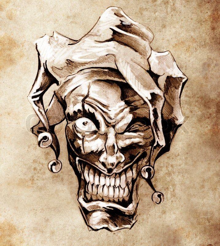 stock bild von 39 fantasy clown joker skizze tattoo kunst. Black Bedroom Furniture Sets. Home Design Ideas
