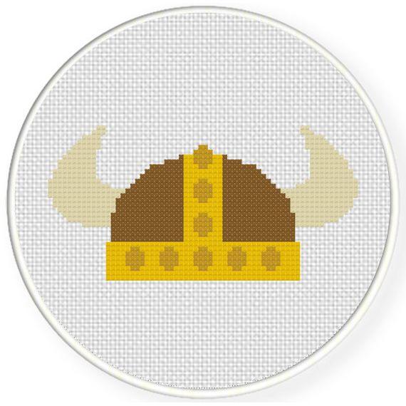 Charts Club Members Only: Viking Helmet Cross Stitch Pattern ...