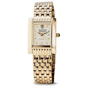"""Princeton University Women's Swiss Watch - Gold Quad Watch with Bracelet by M.LaHart & Co.. $379.00. Classic American style by M.LaHart. Three-year warranty.. Attractive M.LaHart & Co. gift box.. Officially licensed by Princeton University. Swiss-made quartz movement with 7 jewels.. Princeton University women's gold watch featuring Princeton insignia at 12 o'clock and """"Princeton University"""" inscribed below on cream dial. Swiss-made quartz movement with 7 jewel..."""