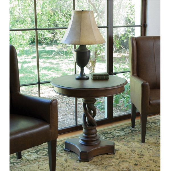 Kosas Home Bella 30 Inch Round Handcrafted Acacia Wood Accent Table