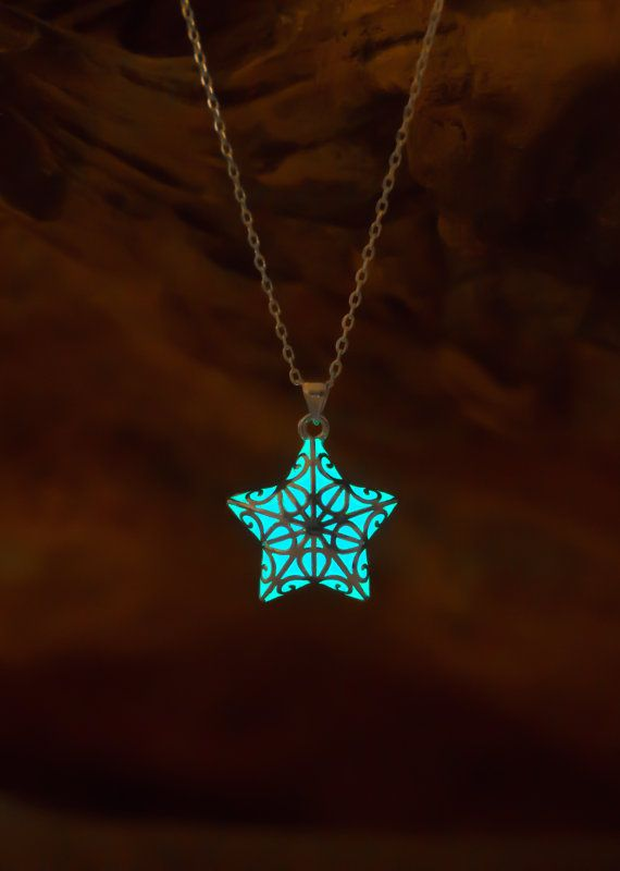 Aqua Glow In The Dark Star Necklace Christmas Gifts Jewelry Small Glowing Necklace For Her Unique Gifts Christmas Gifts For Kids Christmas Gift Jewelry Dark Jewelry Star Necklace