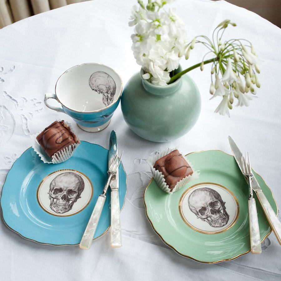 Melody rose Upcycled Skull Design Vintage Side Plate