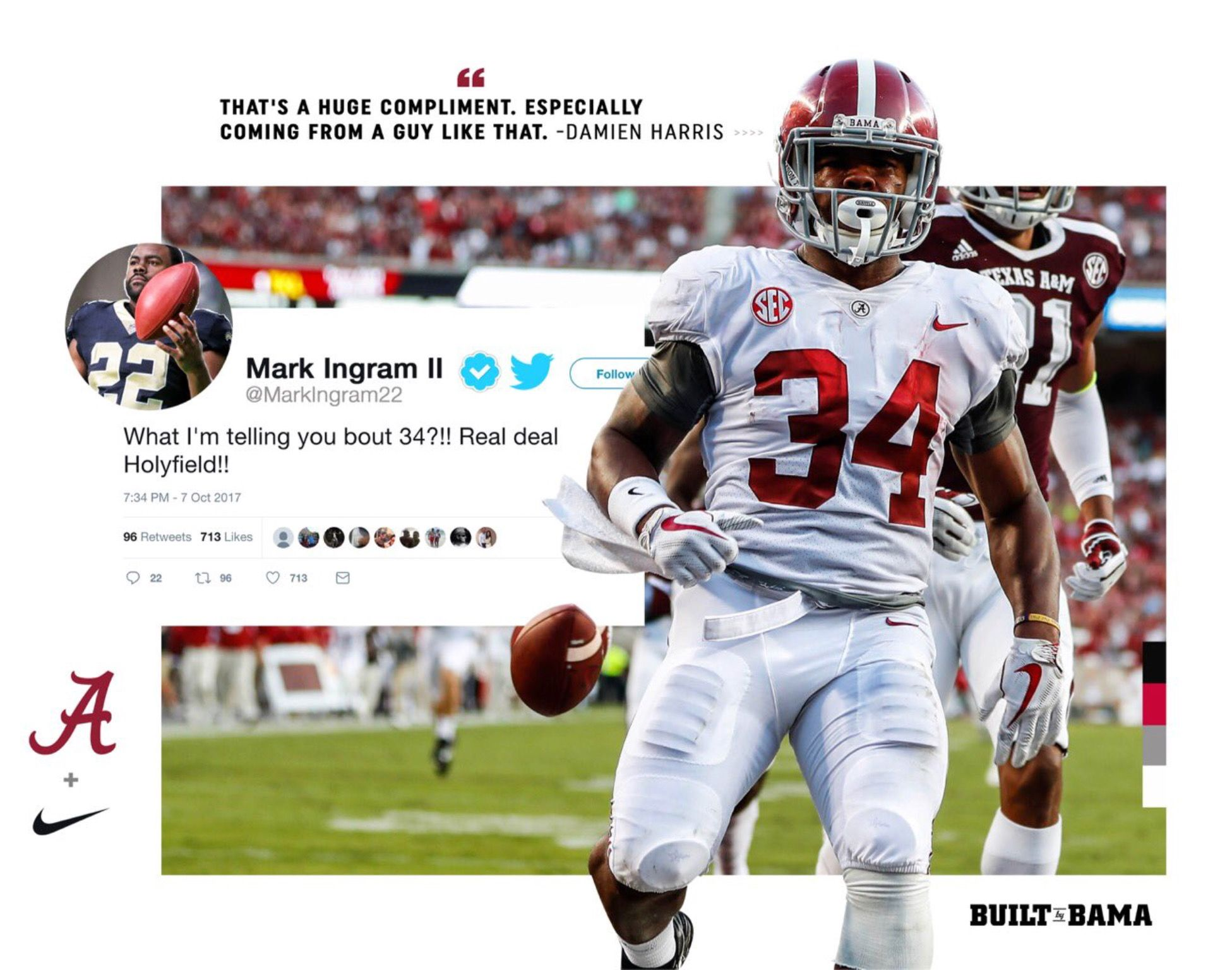 Damien Harris Compliment From Mark Ingram Via Alabamaftbl On Twitter Alabama Rolltide Bama Builtbybama Alabama Football Bama Football Alabama Crimson Tide