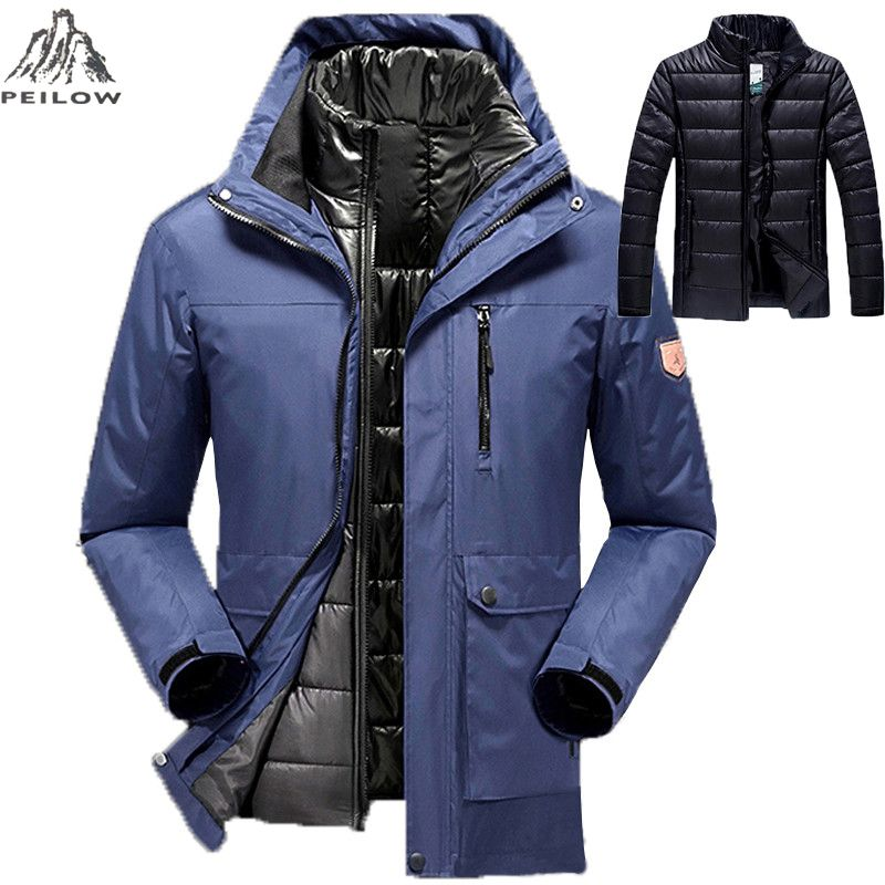9b09cf81060 PEILOW large size hot sale warm outwear winter jacket men women`s 2 in 1