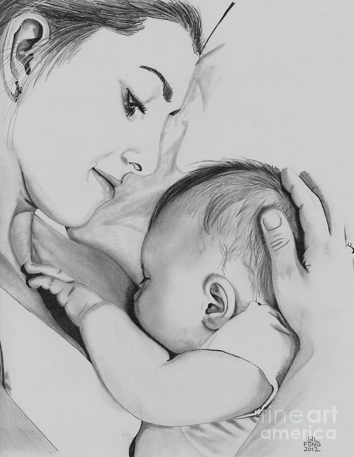 Pencil Sketches Of Mothers Love