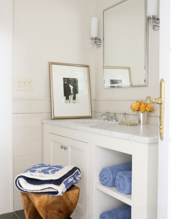 Wettling Architects Hamptons Cottage Cute Little White Kitchen Horizontal Planking Neutral BathroomSimple