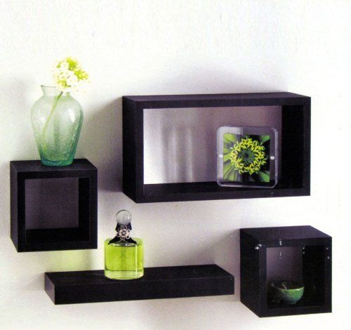 Set of 4 Black Wooden Wall Mounted Retro Floating Cube Shelving Storage Display Shelf Shelves , http://www.amazon.co.uk/dp/B008MM7X12/ref=cm_sw_r_pi_dp_fwTutb0FNBXHH
