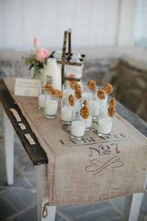 cookies + milk  party idea, the only thing I would add is to rim the glasses with chocolate, I love this party idea