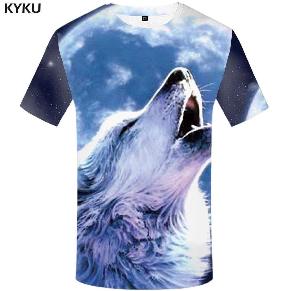 Photo of Wolf T-shirts Men Moon Tshirts Print Animal Tshirt Anime Angry T shirts Funny T-shirt 3d Mens Clothing Casual Unisex Printed – S