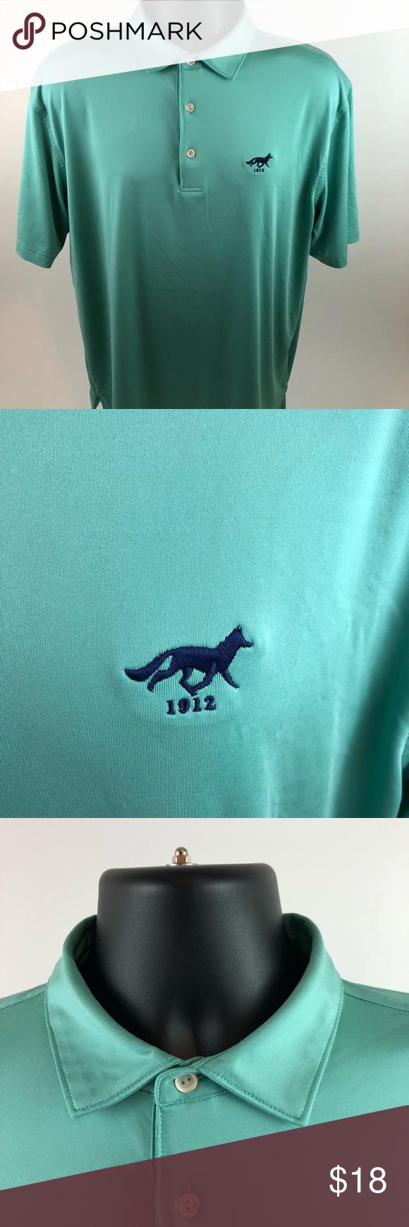 Peter Millar Teal polo w/fox logo men's L. D102 Brand