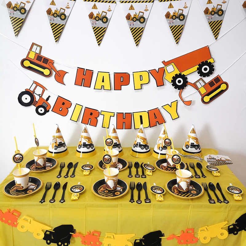 Construcción Banner decoraciones para fiesta de cumpleaños camión excavadora guirnalda Tractor fiesta de bienvenida para el futuro bebé niños suministros de fiesta de cumpleaños