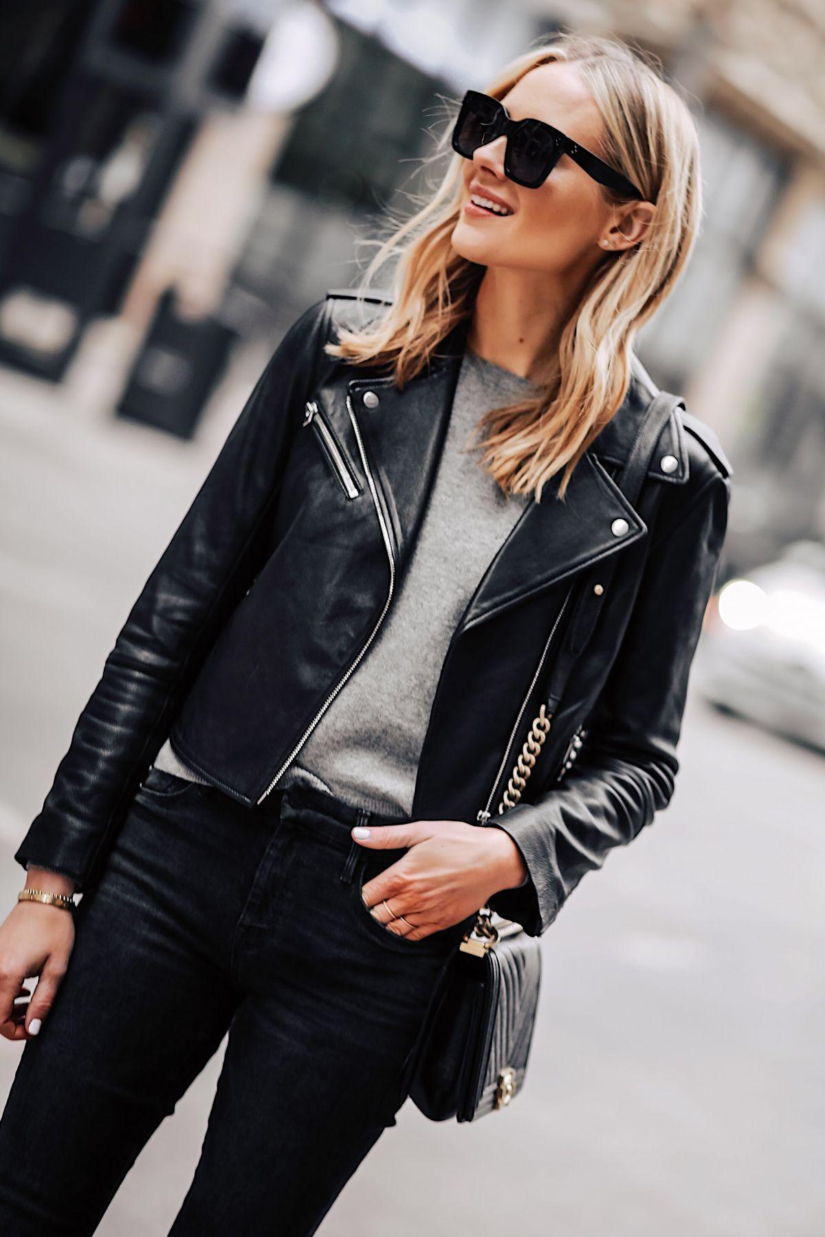 bf1bffb577a Blonde Woman Wearing Club Monaco Black Leather Jacket Grey Sweater Black  Skinny Jeans Fashion Jackson San Diego Fashion Blogger Street Style