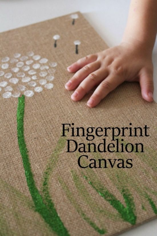 Dandelion Fingerprint, Fingerprint Canvas, Fingerprint Crafts For Kids, Handprint Art Kids, Dandelion Art, Easy Fingerprint, Handprint Ideas, ...