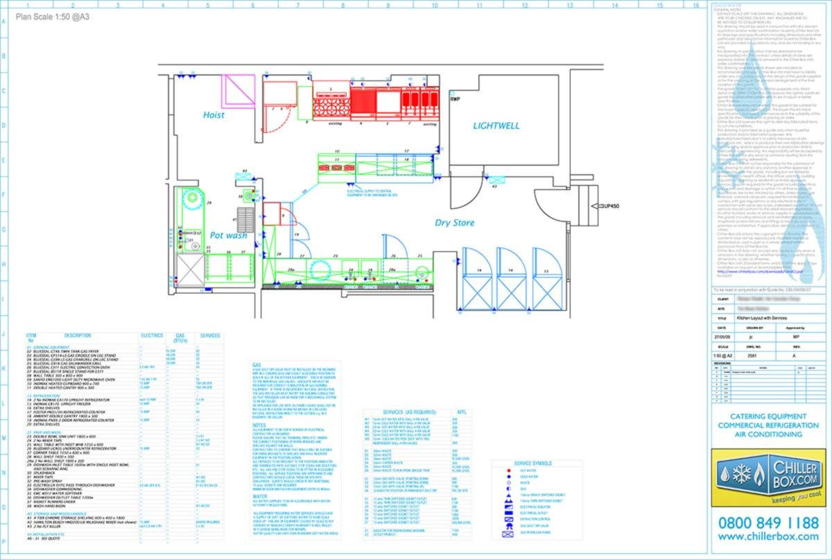 Cad Drawings Commercial Kitchen Planning Layout Chiller Box