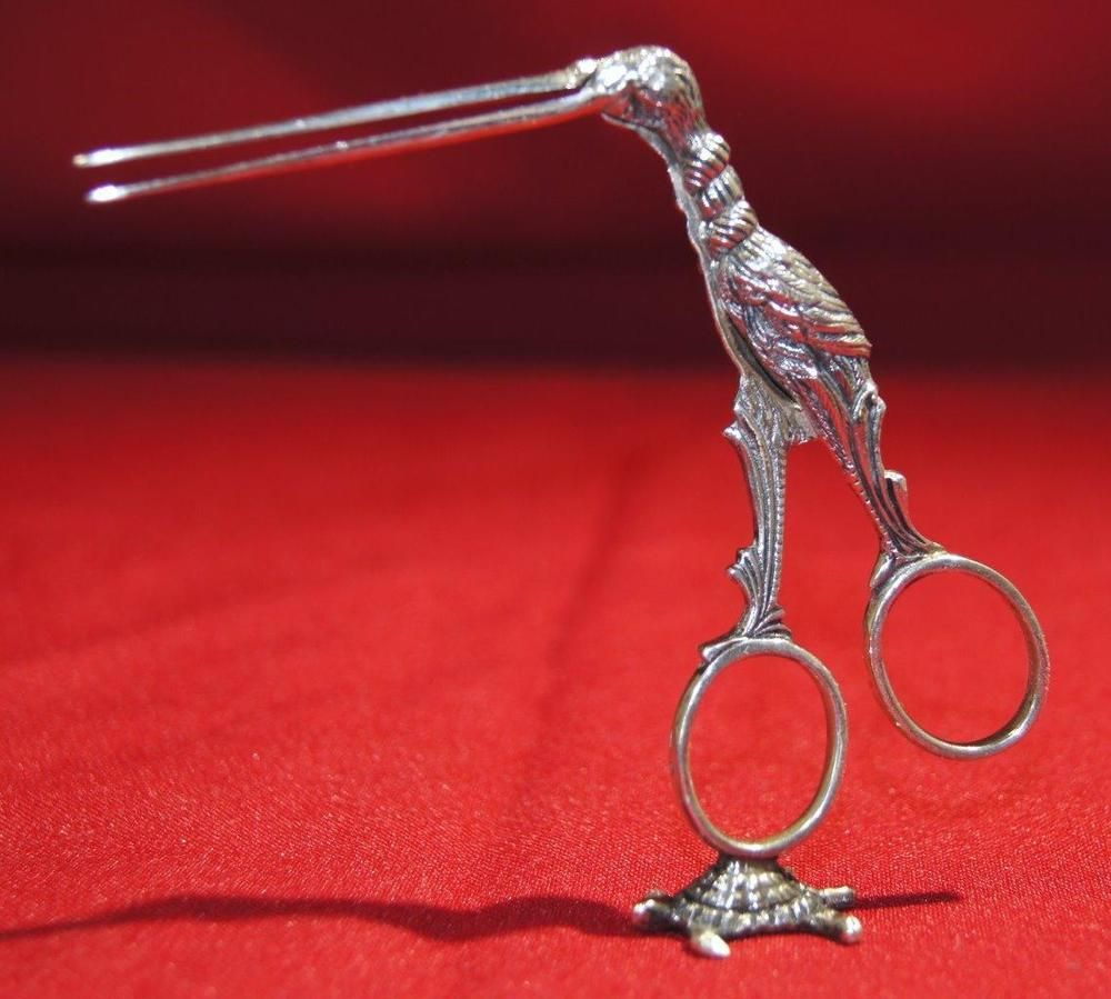 Antique Dutch 835 Silver Stork on Turtle Umbilical Cord Tongs early 20th century #MadeinHolland
