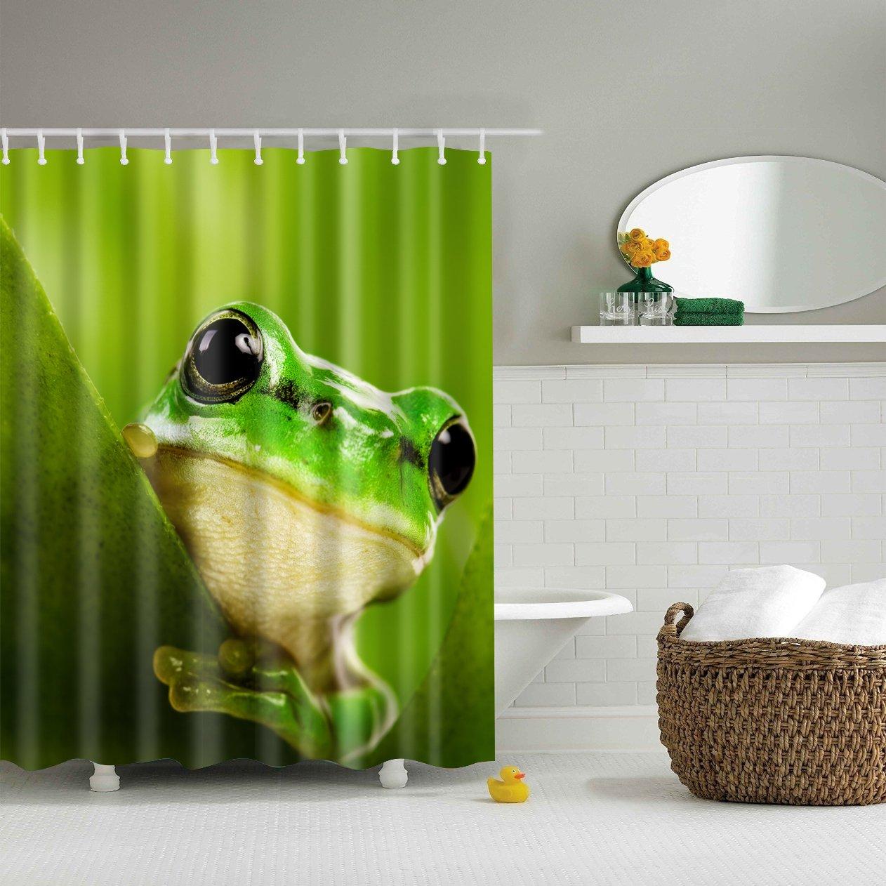 Kids Frog Shower Curtain Green Bath Decor Fabric Shower Curtains