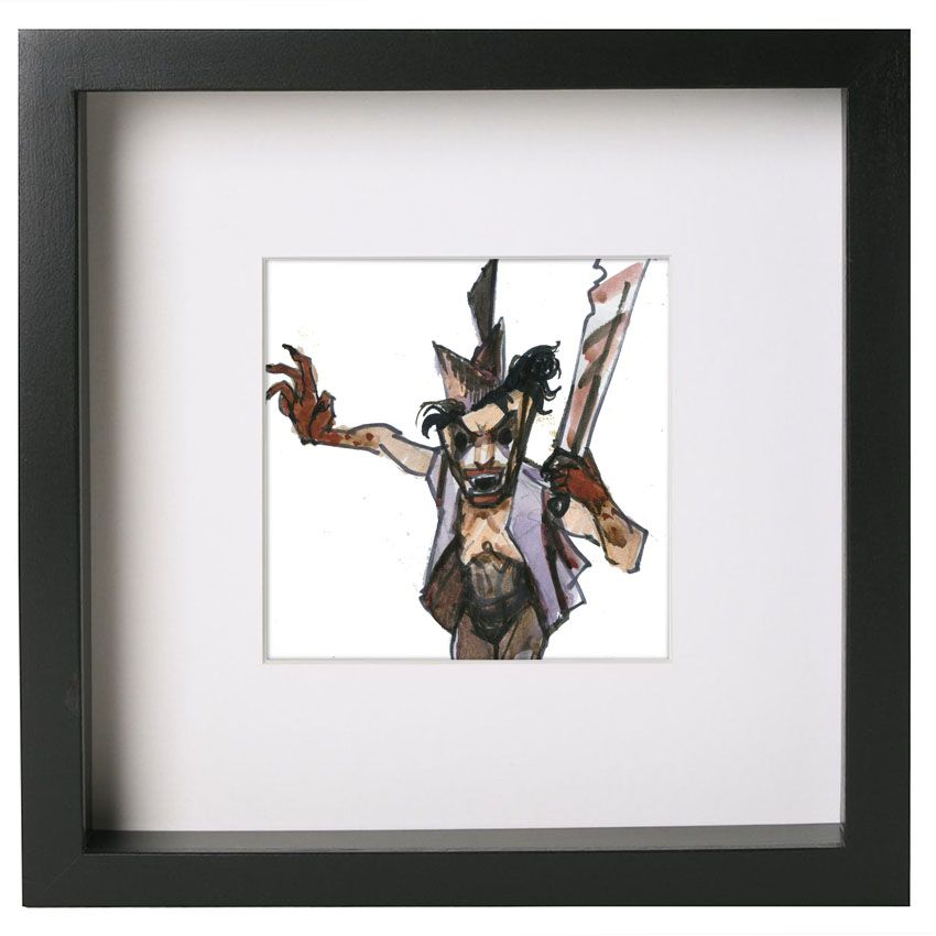 Game personage 5. Watercolor and hand printing. Ikea Ribba framed ...