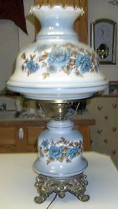 Vintage Hurricane Glass Large Lamp With Blue Flowers