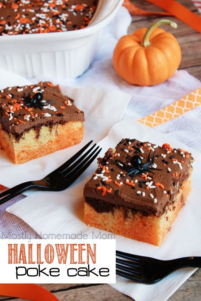 halloween poke cake fudge marble cake mix filled with orange jello and topped with chocolate frosting and spooky sprinkles the perfect dessert cake to