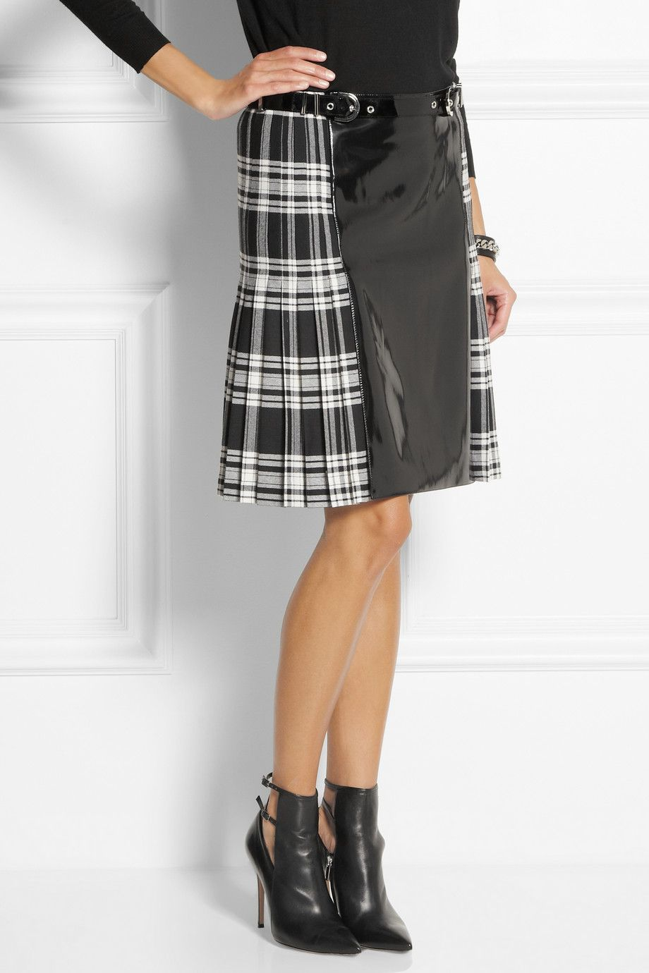 4e77d5f77 Versace   Faux patent-leather and plaid wool skirt   NET-A-PORTER.COM