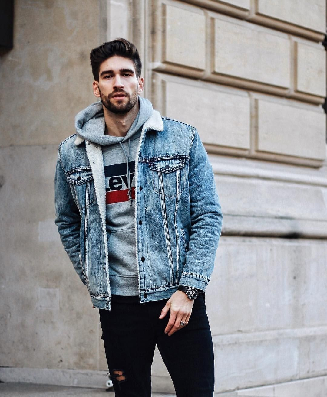 31 Stunning Men Style With Sweatshirt For Casual Outfit Hoodie Outfit Men Hoodie Fashion Jean Jacket Outfits Men [ 1313 x 1080 Pixel ]