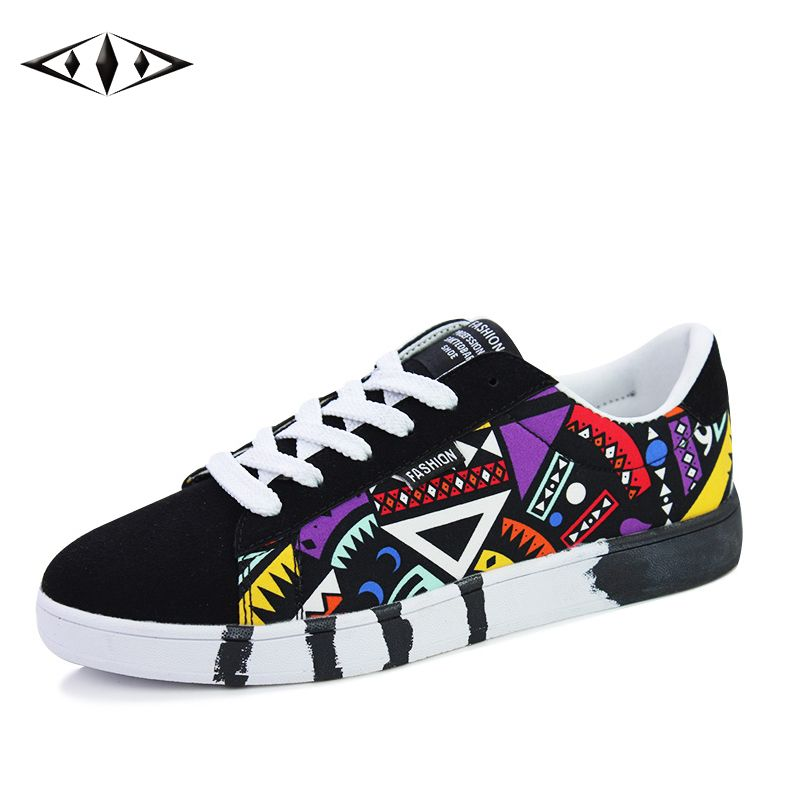 Geometric Men Sneakers Summer Autumn Sports Skateboarding Shoes Breathable  Canvas Shoes For Male Shoes Teenage Shoes