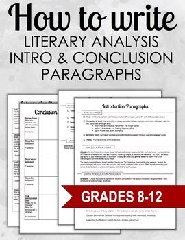 How To Write Intro Conclusion Paragraphs Literary Analysis