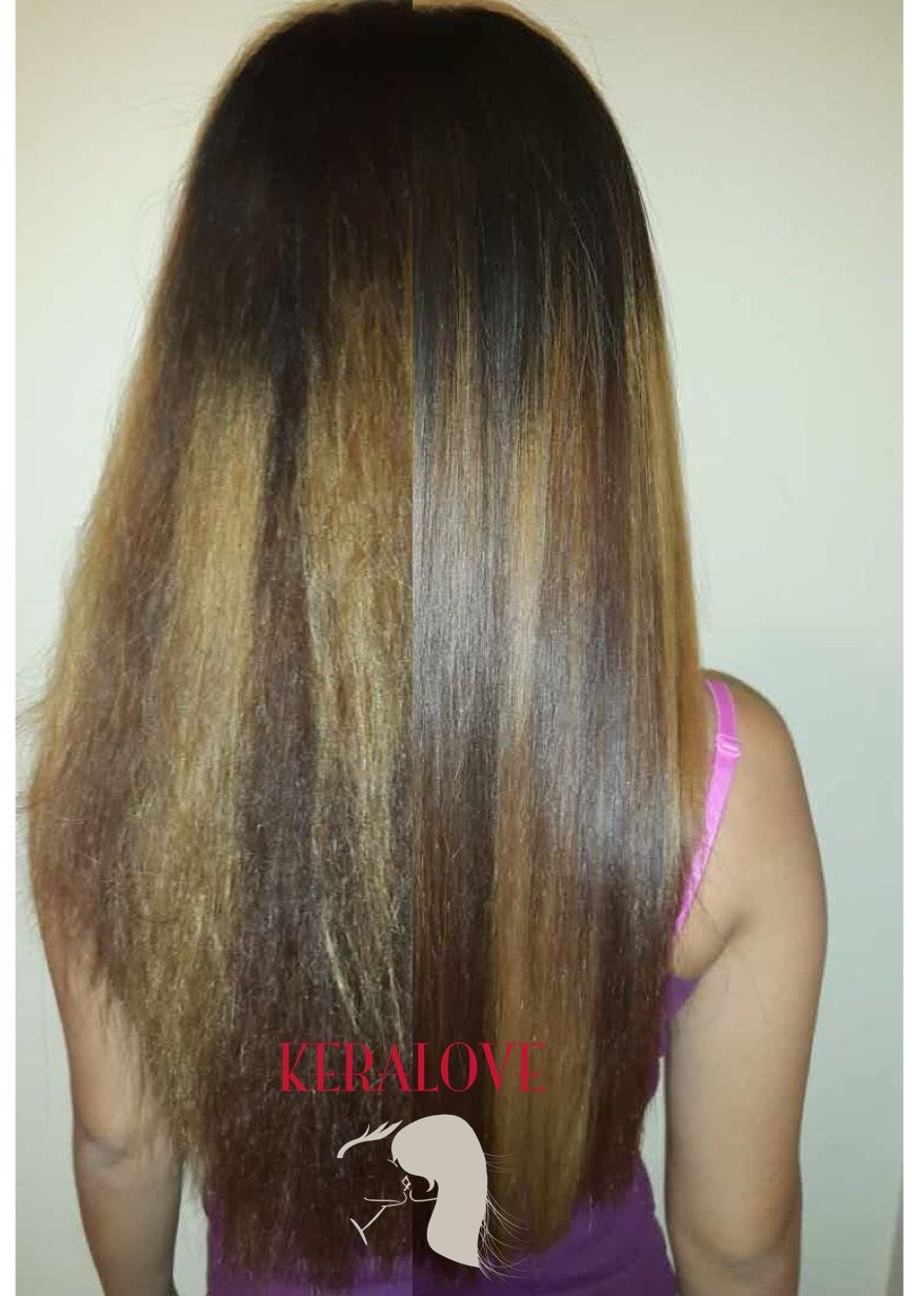 Before And After Keralove Keratin Treatment On A Dyed Hair From Our