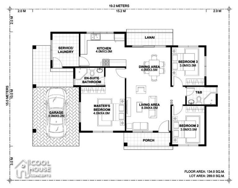 Home Design Plan 19x15m With 3 Bedrooms Home Design With Plan Bungalow House Design Three Bedroom House Plan Home Design Plan